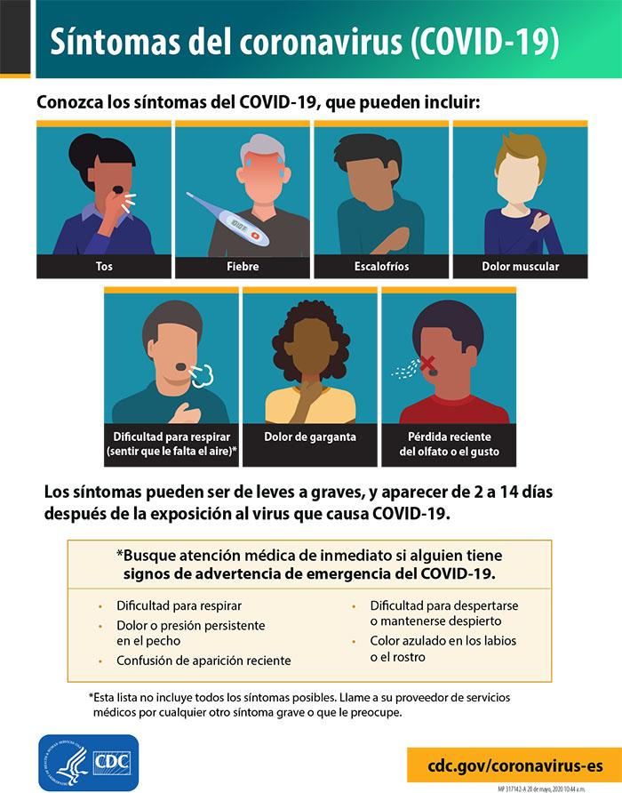 Cuadro de síntomas Covid-19
